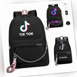 Tik Tok Rucksack Schulrucksack Damen Mädchen Sport Freizeit Backpack mit USB Neu