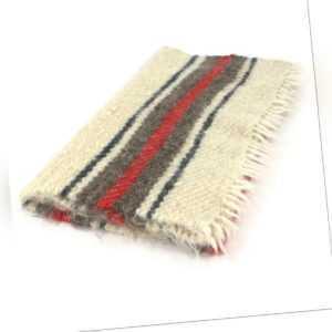kleine handgewebte Wolldecke Läufer wollweiß mit roten Streifen 70