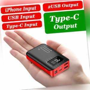 500000mAh Powerbank LED LCD 2USB Type C Externer Batterie Ladegerät Zusatz Akku