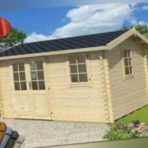 Lasita Gartenhaus Devonshire 43 Gerätehaus Hütte Metall XXL Blockhaus 400x300cm