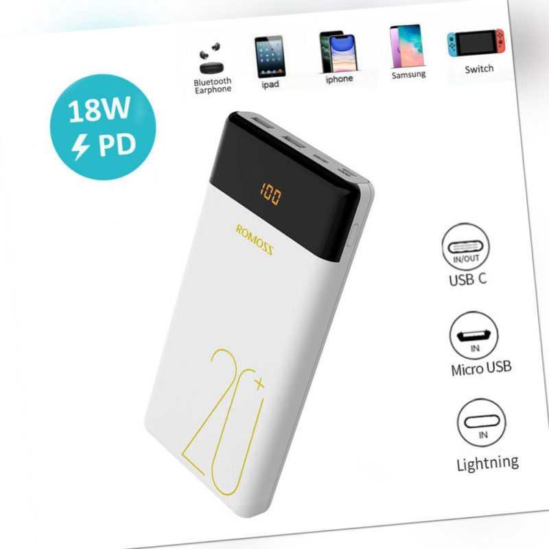 ROMOSS 18W Powerbank 20000mAh Externe Zusatzakku Ladegerät QC3.0 USB-C für Handy