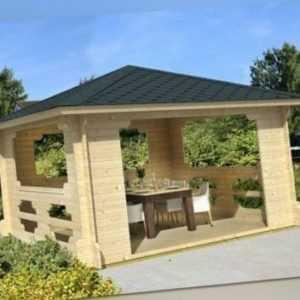 Tene Pavillon Ibiza 40 400 x 400 cm Gerätehaus Gartenhütte Datsche Pavillio Holz