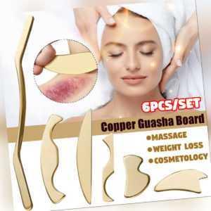6 Stücke/Set Kupfer Guasha Scraping Board Massager Tool SPA sundheit Körper