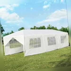 3x9m Gartenpavillon Partyzelt 8 Seitenwände Faltpavillon Bierzelt Gartenzelt