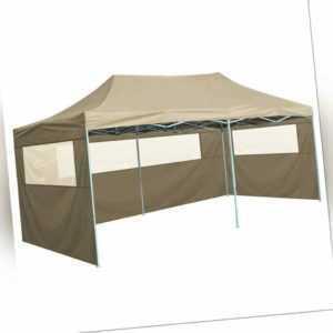 vidaXL Profi Partyzelt Faltbar 4 Seitenwänden 3x6m Creme Pavillon Festzelt