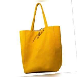 Echt Leder Tasche Ledertasche Shoppertasche Schultertasche, A4,  gelb MC543276
