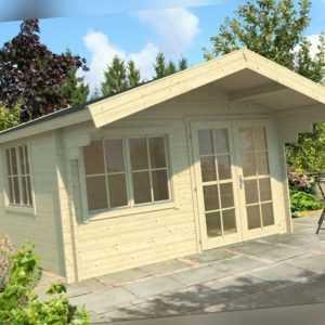 34 mm Gartenhaus + Fussboden 4x4 m Gerätehaus Ferienhaus Holzhaus Holzhütte Holz