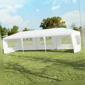 3x9m Gartenpavillon Partyzelt 5 abnehmbaren Seitenwände Faltpavillon Gartenzelt