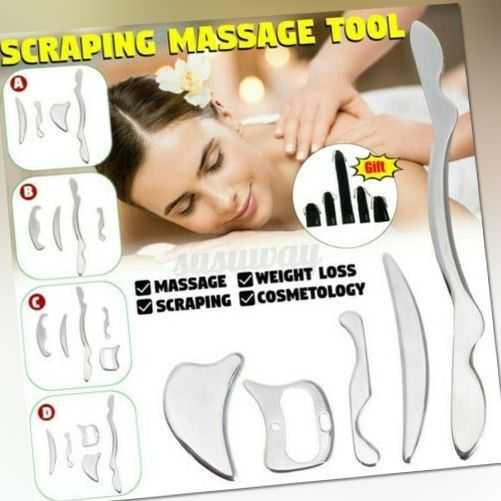 Edelstahl Guasha Feile Vorstand Gesicht Körper Massage Spa Tool Gesundheit Set