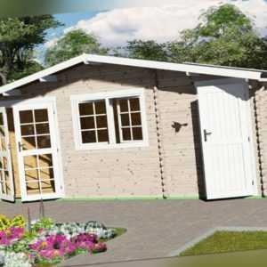 Gartenhaus mit Anbau, 2-Raum Blockhaus 6x4M + 0.5M, 40mm, Mosel EB40061L