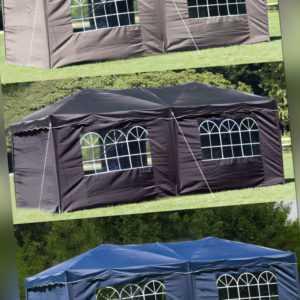 HOCHWERTIGER PAVILLON FALTBAR 3x6m Grau Beige Faltpavillon Seiten Partyzelt Zelt
