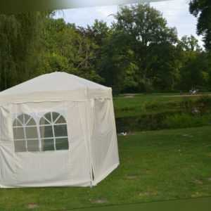Faltpavillon 2x2m Gartenzelt Faltbar POLYESTER Wasserdicht 4 Seitenteile BEIGE