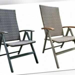 B-Ware Gartenstuhl Aluminium Polyrattan Garten Hochlehner Klappstuhl Stühle  Neu