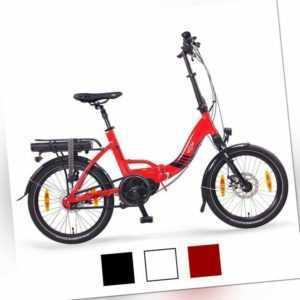 """NCM Paris MAX N8C 20"""" E-Bike, E-Faltrad, 36V 14Ah 504Wh Akku, weiß, rot, schwarz"""