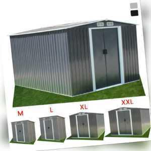 Geräteschuppen Gerätehaus Metall Garten Haus Pultdach Satteldach Schiebetür