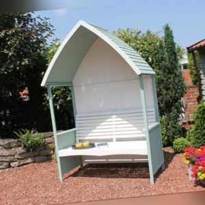 Gartenlaube Ina Tannenholz FSC® 100% Garten Bank überdacht Gartenhaus Sitzbank