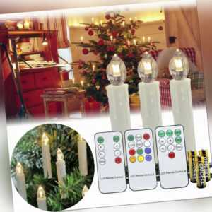 Kabellose LED Weihnachtskerzen 1~100X Christbaum Kerzen Lichterkette Party Timer