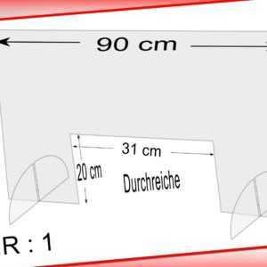 Spuckschutz Schutzscheibe Thekenaufsatz 90x58 cm,Durchreiche 31x20 cm Querformat