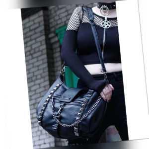 Killstar Gothic Goth Punk Schultertasche Handtasche - Plectrum Nieten Ketten