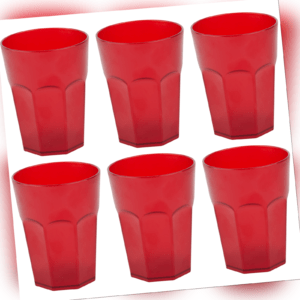 6x Mehrweg Plastikbecher Kunststoff Trinkbecher Party-Camping-Gläser 0,4l Rot