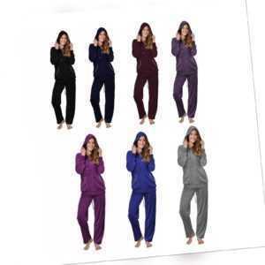 Hausanzug Damen Freizeitanzug Velours Schlafanzug Nicki-Anzug Trainingsanzug