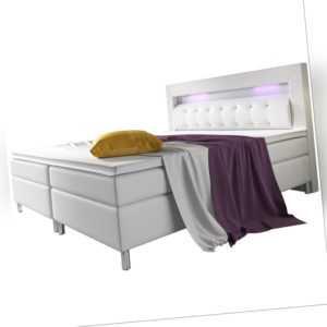 Boxspringbett Bett Kunstleder Topper Federkern LED 140/180 x 200 cm ArtLife®