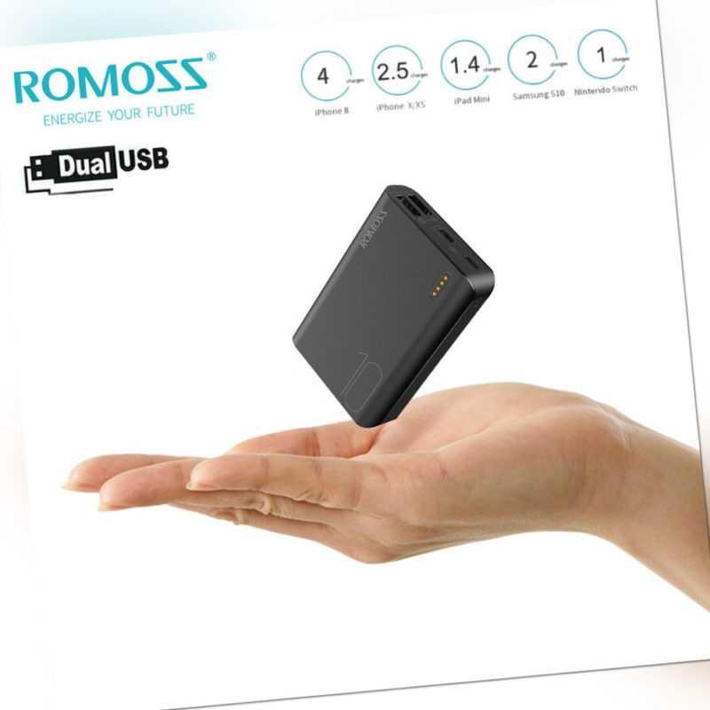 ROMOSS Powerbank 10000mAh 2USB Externe Batterie Ladegerät Akku Schnell Für Handy
