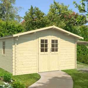 44 mm Gartenhaus + SCHLEPPDACH 400x300 cm Gerätehaus Holzhaus Holzhütt