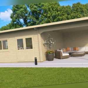 TOPGARDEN Gartenhaus Premium 5x5m CELINA +3m Schleppdach, 45mm, ISO-Glas,+Boden