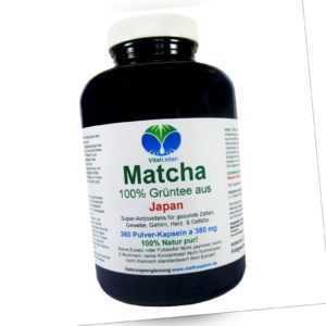 Matcha Grüntee aus Japan 360 Pulver Kapseln Ohne Zusatzstoffe Natur Pur. 25462