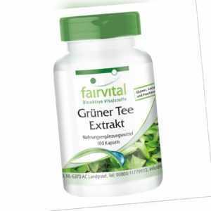 Grüner Tee Extrakt 100 Kapseln, hochdosiert, 50% Polyphenole | VEGAN | fairvital