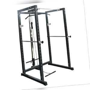 TrainHard® Power Rack Käfig Squat Multipresse m. Latzug Fitnessstation