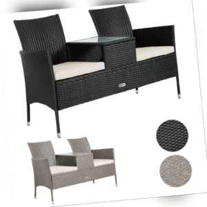 Gartenbank Bank Sitzbank Tisch Poly Rattan Gartenmöbel Tete a Tete Lounge Sofa