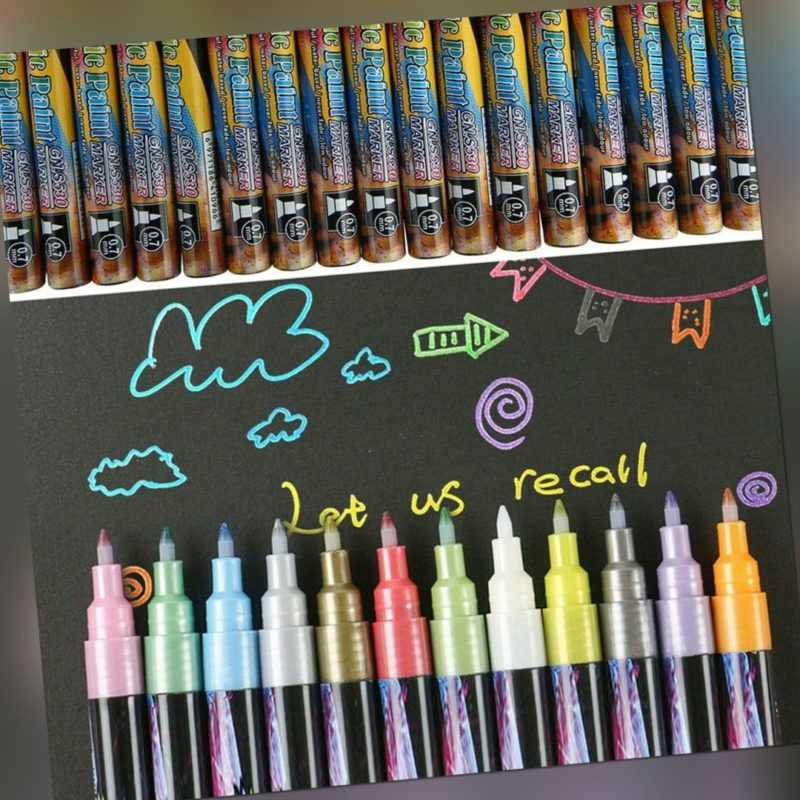 18er Set Flüssigkreide Kreidemarker Kreidestift Metallic Marker Pen Lackstift