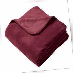 Biederlack Decke Wohndecke Pure Soft Farbe Rot 180x220cm mit