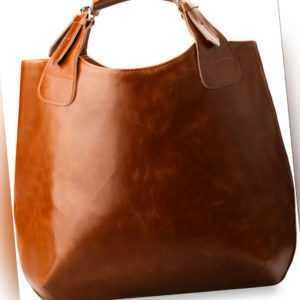 Modische geräumige Handtasche Shopperbag camel