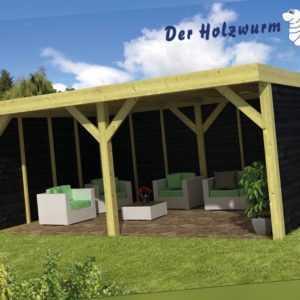 Gartenpavillon Maaseik ca. 600x400 cm Gartenhaus Gartenlaube Offene Scheune