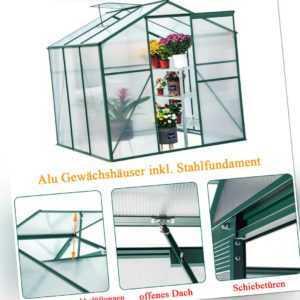 Gewächshaus inkl Stahlfundament Garten Treibhaus Alu Treibhaus Aluminium 5.85m³