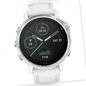 Garmin fenix 6S Silver w/White Band (no MAP/Music/Pay) Smartwatch Weiß