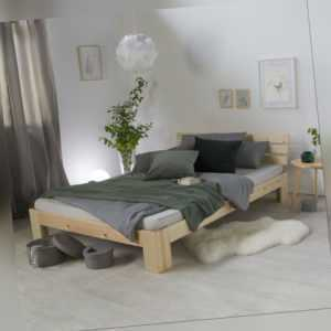 Holzbett Futonbett Ehebett Bettgestell 140 x 200 Natur Kiefer Massiv Homestyle4u