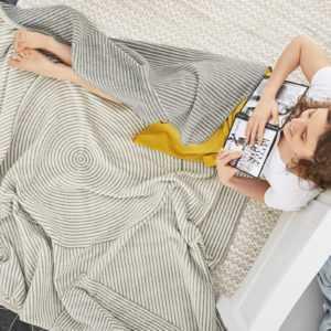 Gestreifte Decke Kyoto IBENA grau/wollweiß Baumwollmischung