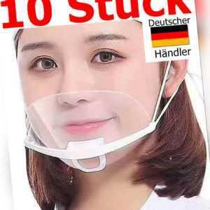 10 x St.Gesichtsschild Plastik Schutzvisier Gesichtsvisier Maske Mundschutz Kinn