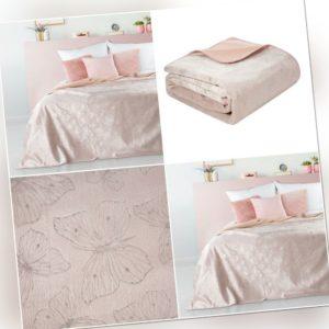 Rosa Decke Wohndecke Kuscheldecke Überwurf Weiche Überdecke Silber