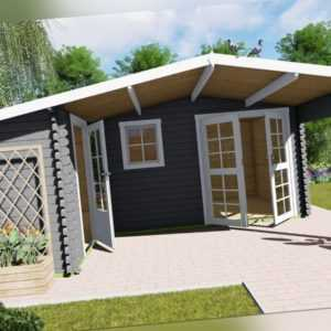 Gartenhaus Holz 2 Raum Vordach Blockhaus 5.1x4.8+2.98M 28mm Birmingham EB28031L