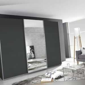 Kleiderschrank Schwebetürenschrank 3 türig mit Spiegel in 4 Breiten und 2 Höhen