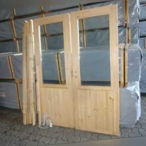 Tür Doppeltür m. Isolierglas Gummidichtung 150x200cm f. Ferien- o. Gartenhaus 70