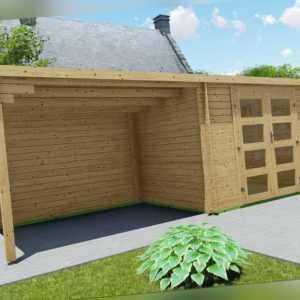 Gartenhaus Flachdach 28mm Gerätehaus Holz Anbau 3x2.4+3M Harz Boden EB28237F18L