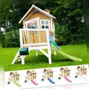 Kinderhaus Spielhaus Robin asymmetrisch Rutsche in 5 Farben FSC Holz