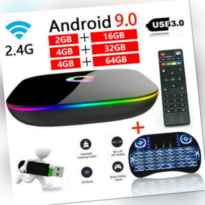 TV Box Q Plus Smart Android 9.0 Quad Core 32GB/64GB HD 6K Media Player Netzwerk
