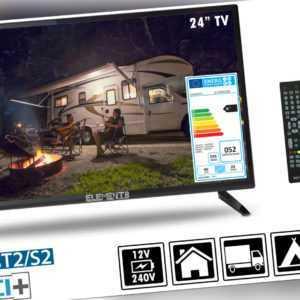 "Elements Fernseher LED TV 24"" Zoll Full HD DVB-T2/S2 Camping/Wohnwagen 220V/12V"